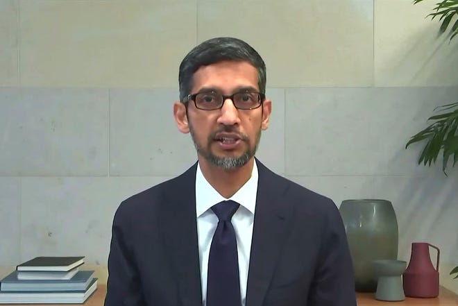 Sundar Pichai, CEO of YouTube parent Google, testifies during a House Energy and Commerce Committee hearing on March 25