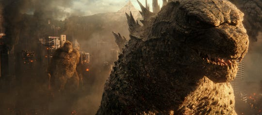 """The two leading men of """"Godzilla vs. Kong"""" part peacefully after taking on a surprise third foe."""
