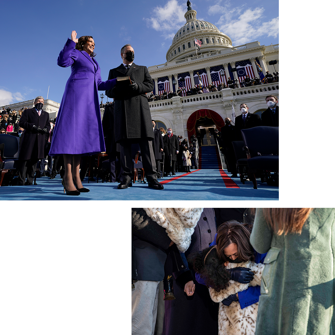 Kamala Harris is sworn in as Vice President by Supreme Court Justice Sonia Sotomayor as her husband Doug Emhoff holds the Bible during the 59th Presidential Inauguration at the U.S. Capitol in Washington on Jan. 20, 2021. Harris hugs her great-niece, Amara Ajagu.