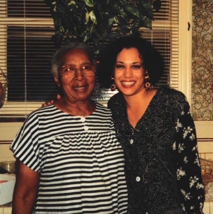 Vice President Kamala Harris, right, is pictured with Regina Shelton in this undated file photo.