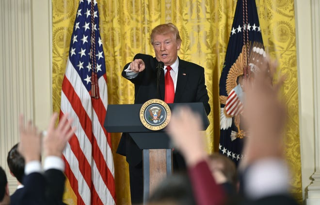 US President Donald Trump takes a question as he speaks during a press conference — his first — on Feb. 16, 2017, at the White House.