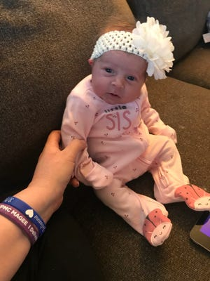 Madailin Grace, daughter of Mandee Staley, at one month old.