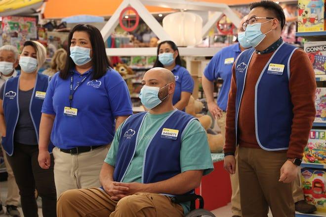 "Kaliko Kauahi as Sandra, Colton Dunn as Garrett and Nico Santos as Mateo in the penultimate episode of ""Hypermarket."""