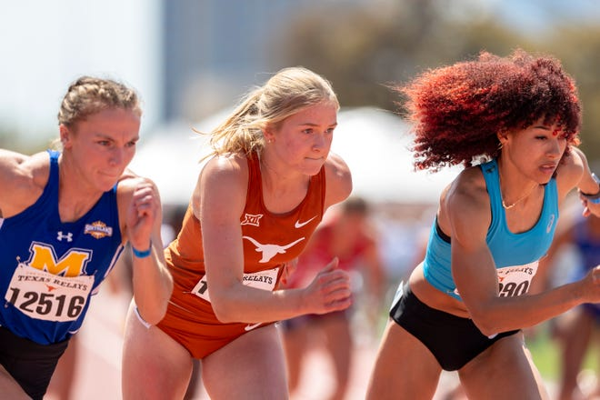 From left, McNeese State's Grace McKenzie, Texas' Kristine Blazevica and Asics' Taliyah Brooks begin the women's 800-meter race Friday as part of the heptathlon in the Texas Relays at Myers Stadium. Blazevica, who tallied 5,813 points, finished second in the competition.