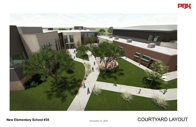 A rendering of the courtyard at the Round Rock school district's newest elementary school.
