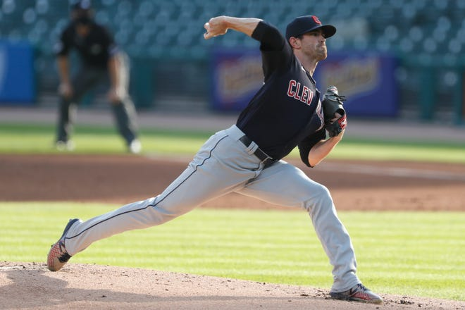 Cleveland starting pitcher Shane Bieber (57) pitches during the first inning against the Detroit Tigers at Comerica Park last season. Bieber suffered an opening-day loss, but he is the unquestioned ace of a young staff.