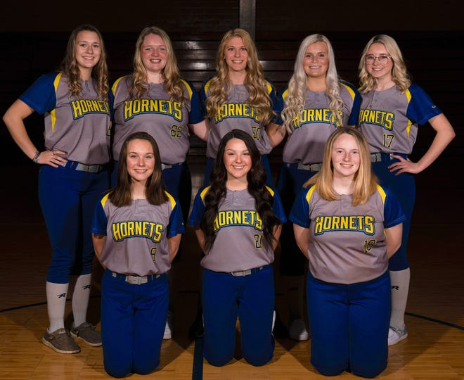 Returning letter winners for the 2021 East Canton softball team are (front row, left to right) Kayla Blankenship, Saylor Bachman and Jaisha Hughes; and (back row) Marisa Hall, Alyssa Wahl, Kaley Steigerwald, Tori Hankins and Madisyn Miller.