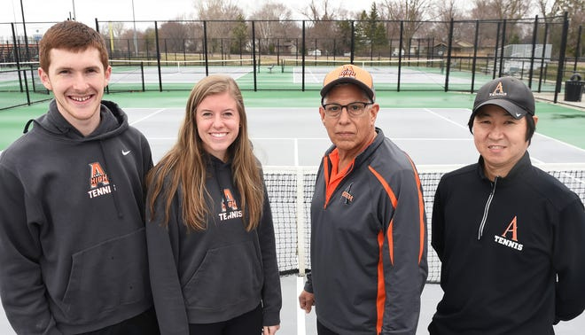 Timothy and Anna Ellis (left) are taking over the Ames girls' tennis program and John Hernandez (center right) will head up the boys' program alongside veteran assistant Dan Ko in 2021.
