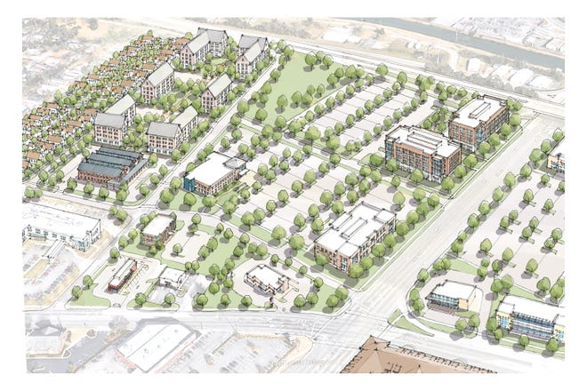 """An artist's rendering of upcoming """"transformational"""" redevelopment in the Harrisburg area of Augusta just west of 15th Street."""