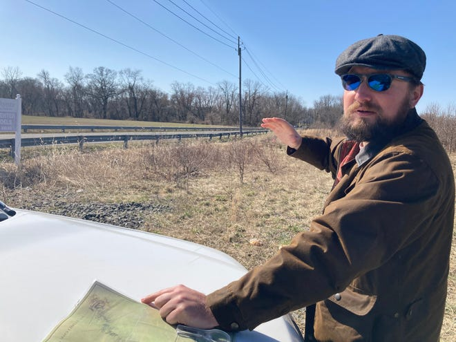 Adam Zielinski, of the Rev War Alliance of Burlington County, on the field where a skirmish at Petticoat Bridge in Mansfield set in motion George Washington's victory at Trenton.