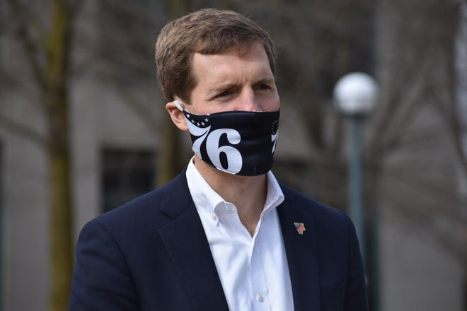 U.S. Rep Conor Lamb speaks at a rally organized by SEIU Healthcare at the Beaver County Courthouse on Friday, March 26, 2021.