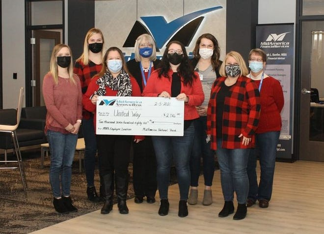 Pictured from the left are employees of MidAmerica Bank, Haley Freeman, Harley Barnard, Ann Lockhart, (United Way Executive Director), Bonnie Watkins, Jackie Duvendack, Drew Swise, Emily Johnson, and Sue Freiley.