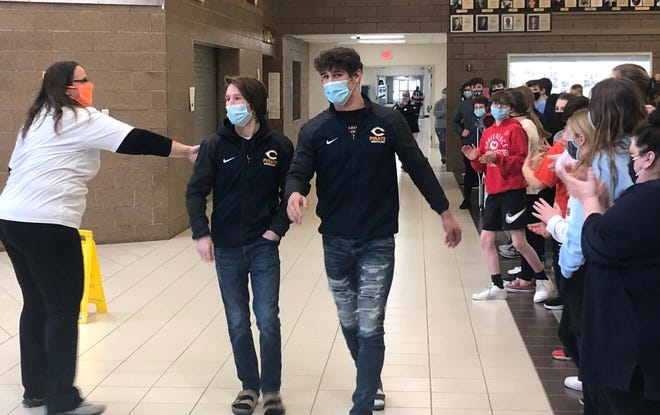 Zach Brown and Ethan Boll were sent off Friday afternoon from Crookston High School to the state wrestling tournament in St. Michael, where they'll compete Saturday afternoon.
