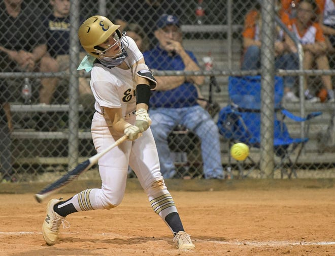 Eustis' Jayda Treaster hits a walk-off grand slam in Thursday's game against Montverde Academy at the Panther Den. Eustis won the game 11-1.  [PAUL RYAN / CORRESPONDENT]