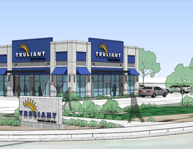 This artist's rendering shows a new Truliant Federal Credit Union planned for 140 Lowe's Blvd. in Lexington.