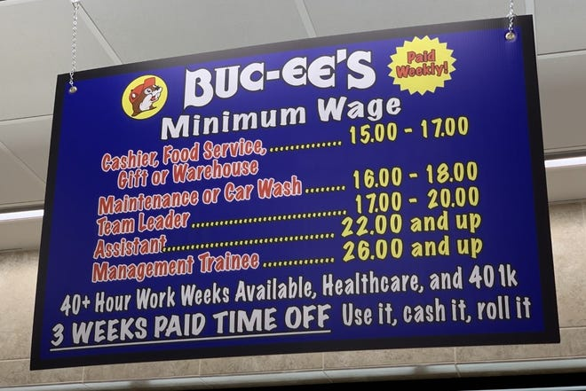 A sign hanging above the inside of the front entrance to the new Buc-ee's superstore that opened in Daytona Beach on Monday, March 22, 2021, shows the starting pay range for positions it offers.