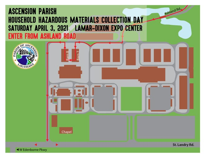 Ascension Parish will host a Hazardous Household Materials Collection Day on April 3.