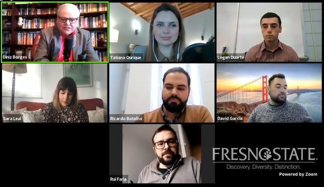 """Aspecto da sessão """"Os Primos da América: Construindo uma Ponte entre as Novas Gerações,"""" integrada no simpósio virtual """"Filamentos da Herança Atlântica: Os Açores e a Diáspora nos EUA,"""" organizado pelo Instituto Português Além-Fronteiras."""