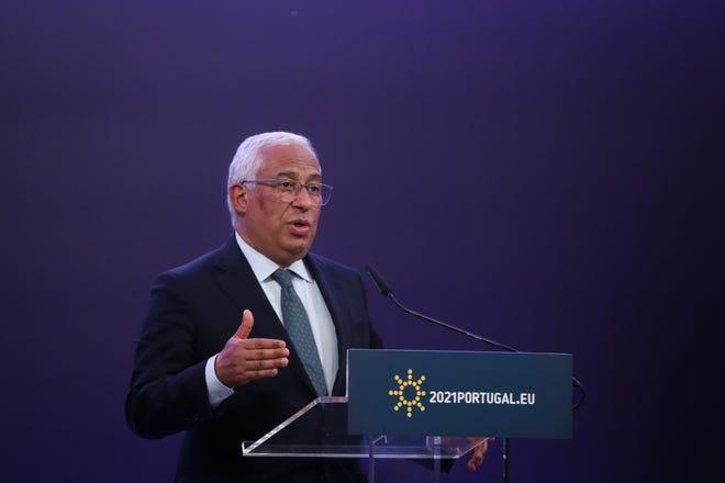 O Primeiro Ministro António Costa durante a conferência de imprensa após a reunião do Conselho Europeu, realizada a 25 de Março, no Centro Cultural de Belém, em Lisboa.