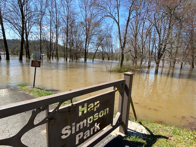 Floodwaters at Hap Simpson Park at 666 Greenville Highway in Brevard Friday afternoon.