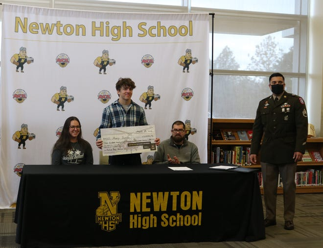 Avery Dutcher  and his family celebrated his enlistment in the Army as part of the first-ever Military Signing Day at Newton High School.