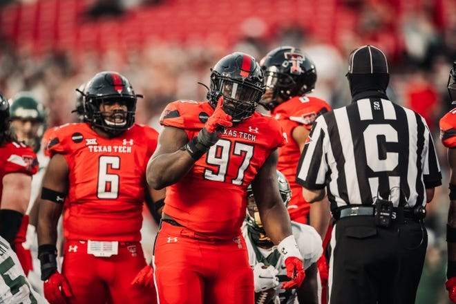 Tony Bradford (97) was Texas Tech's regular starter last season at defensive tackle, but Tech coaches like what they see from pairing 20-game starter Jaylon Hutchings and Bradford as one-two at nose tackle with the idea of each playing about 40 snaps per game.