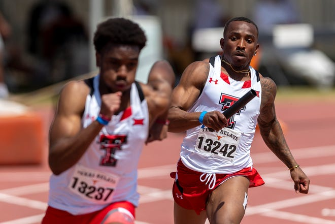 Texas Tech's Keion Sutton, right, hands off to Daniel Omah during the Texas Relays two weeks ago in Austin. Sutton was a bright for the Red Raiders last week in Waco, running the 100 meters in a personal record 10.35 seconds at the Baylor Invitational.