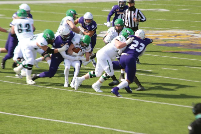 The Western Illinois defense makes a tackle during a game from earlier this season.