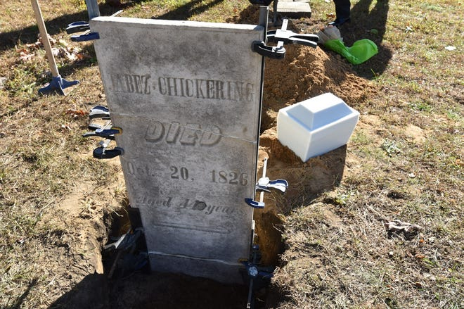 Jabez Chickering's grave marker as Chickering is reinterred in Memorial Place Cemetery at the City of Monroe's Memorial Park.