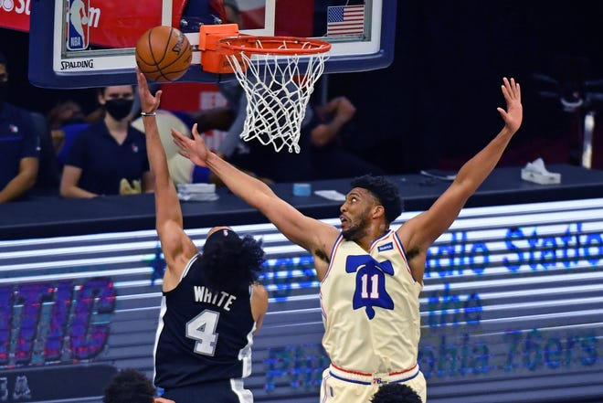 Tony Bradley attempts to block a shot against Spurs guard Derrick White. Bradley was traded from the 76ers to the Thunder on Thursday.