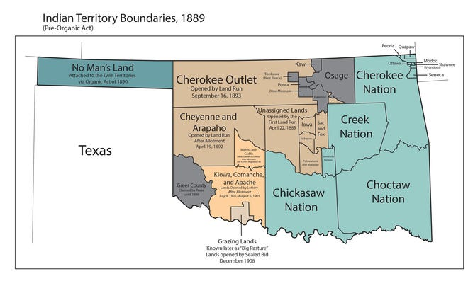This map shows Indian Territory reservations before Oklahoma became a state in 1907. The U.S. Supreme Court and the Oklahoma Court of Criminal Appeals have ruled that the Creek, Cherokee and Chickasaw reservations were never disestablished by Congress.
