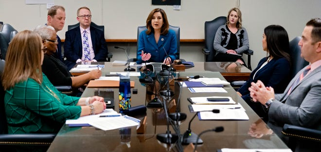Oklahoma state schools Superintendent Joy Hofmeister speaks during a March 2020 meeting of the Oklahoma State Board of Education in Oklahoma City. On Thursday, the board voted 4-3 to settle a 2017 lawsuit with the Oklahoma Public Charter School Association and granted charter schools access to local tax revenue.