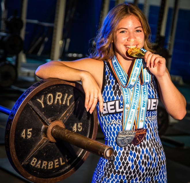 Belleview's Hannah Collett, who won the 110-pound weight class at the FHSAA Class 2A State Championship in February, is the Ocala Star-Banner Girls Weightlifter of the Year for the third year in a row. [Doug Engle/Ocala Star Banner]