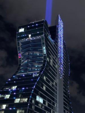 The guitar-shaped hotel at Seminole Hard Rock and Casino.
