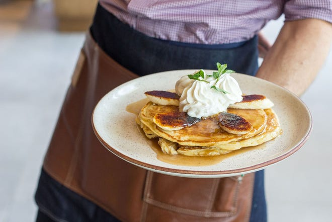 Lionfish restaurant in Delray Beach is serving Easter Sunday brunch specials. These banana-ricotta pancakes are on the restaurant's regular brunch menu.