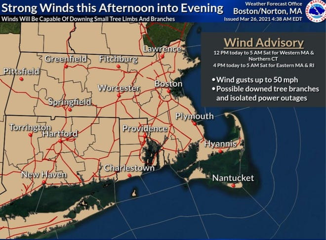 A wind advisory goes into effect at 4 p.m. and continues until 5 a.m. Saturday.