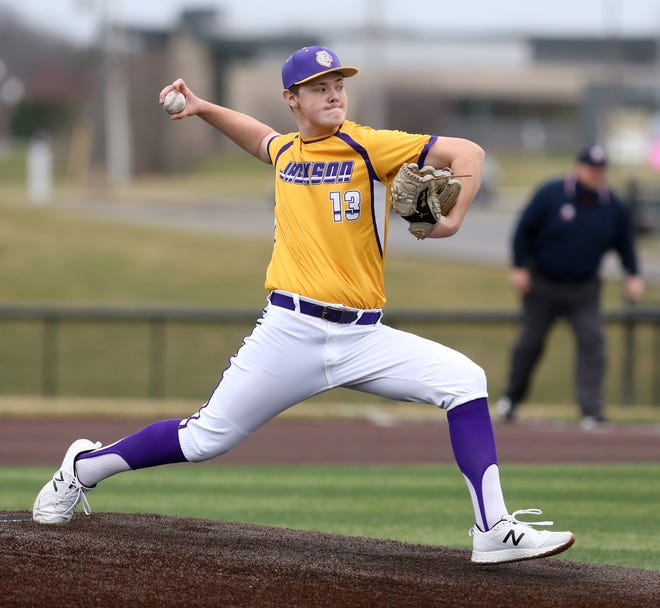 Nate Plack of Jackson pitches during their scrimmage against North Royalton at Jackson on Thursday, March 25, 2021.