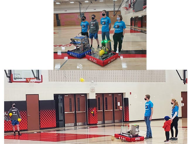 Top: Seniors enjoying their final year of high school robotics competition are, from left: Aneas Pacheco, Ben Whited, Jaydon Estebo and Perry Bailey. Bottom: Wingnuts team members showed how their robot can shoot baskets, during their demonstration for parents on March 14.