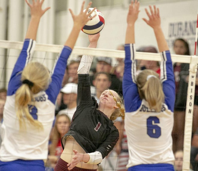 Tabytha Toelke was a unanimous pick for all-conference and was one of a league-leading three players to make first-team all-NUIC North volleyball for Dakota.