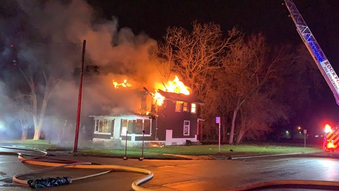 A vacant two-story home at 907 Acorn Street in Rockford was destroyed by fire on Thursday, March 25, 2021. No one was injured. The house was slated for demolition prior to the blaze.