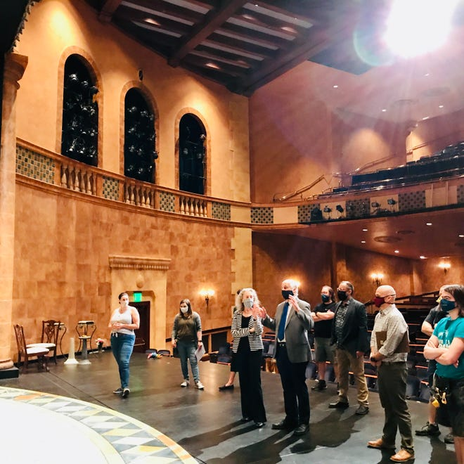 Artistic Director Victor DeRenzi, center right, stands on the stage of the Sarasota Opera House as rehearsals were underway for the second half of the company's season of intimate productions.
