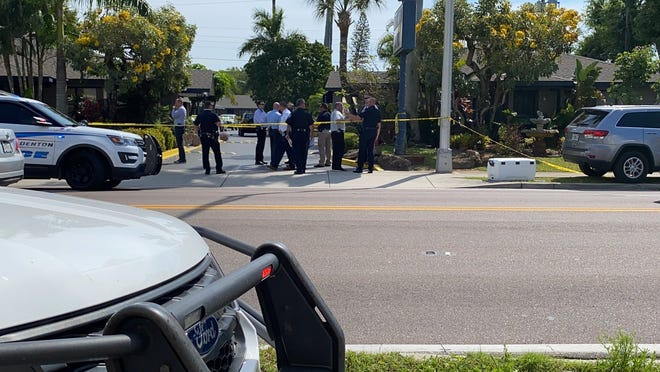 The scene of a shooting involving a Bradenton Police Department officer at the Blue Boy Motel, 1839 14th St. W., on March 25, 2021, in Bradenton.