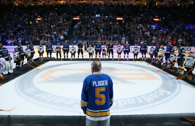 Bob Plager during player introductions before the home opener against the Minnesota Wild on Thursday, Oct. 13, 2016, at the Scottrade Center in St. Louis. Plager was a member of the original 1967-68 St. Louis Blues team.