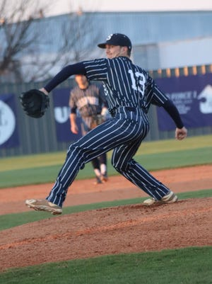 Shawnee right-hander Daniel Campbell delivers a pitch against Guthrie Thursday at Memorial Park. Campbell allowed just four hits and struck out 15 in the Wolves' 5-1 win over the Bluejays.