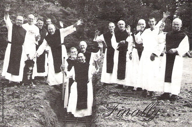 Assumption Abbey monks at groundbreaking for new addition and bakery, 1998.