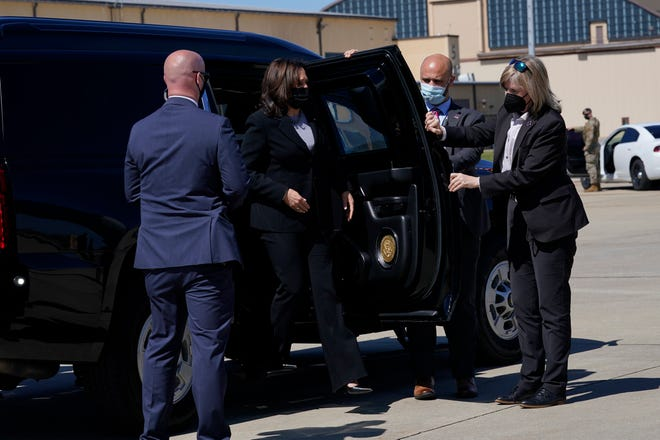 Vice President Kamala Harris arrives to board Air Force Two at Andrews Air Force Base, Md., Friday, March 26, 2021. Harris is traveling to Connecticut to hold a listening session at the Boys & Girls Club of New Haven on how the American Rescue Plan addresses child poverty and education. (AP Photo/Susan Walsh)