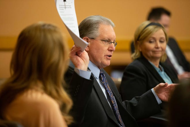 Sen. Mike Thompson, R-Shawnee, waves paper during a Senate Republican caucus at the Statehouse. Thompson is one of the members of a new committee on COVID-19 mandates.