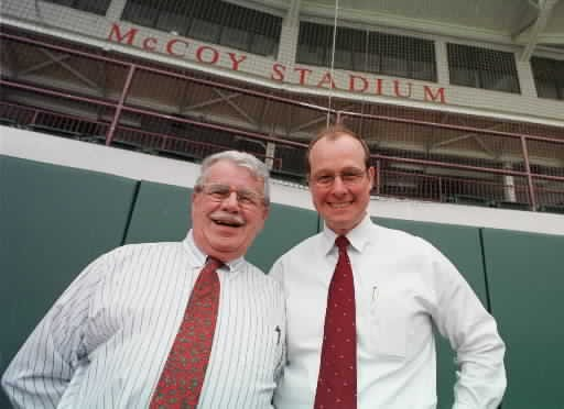 Triple-A baseball enjoyed a fine run at McCoy Stadium under owner Ben Mondor (left) and executive Mike Tamburro.