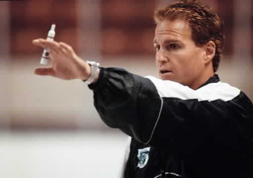 IceCats coach Greg Gilbert gives instructions to his players during practice in 1999.