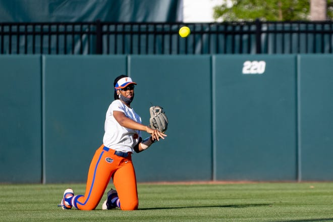 Florida outfielder Cheyenne Lindsey throws the ball back to the infield Friday after making a catch in center field against LSU at Katie Seashole Pressly Stadium.